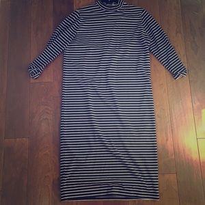 ASOS Midi Navy and White 3/4 Sleeve Striped Dress